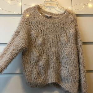 Cream fuzzy chunky sweater